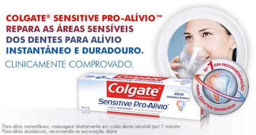 Colgate® Sensitive Pro-Alívio™ repara as áreas sensíveis dos dentes para alívio instantâneo e duradouro.